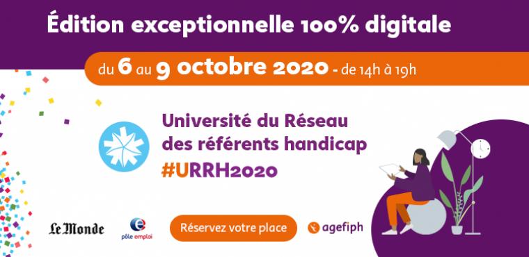 Edition 100 % digital de l'université du réseau des référents handicap du 6 au 9 octobre 2020